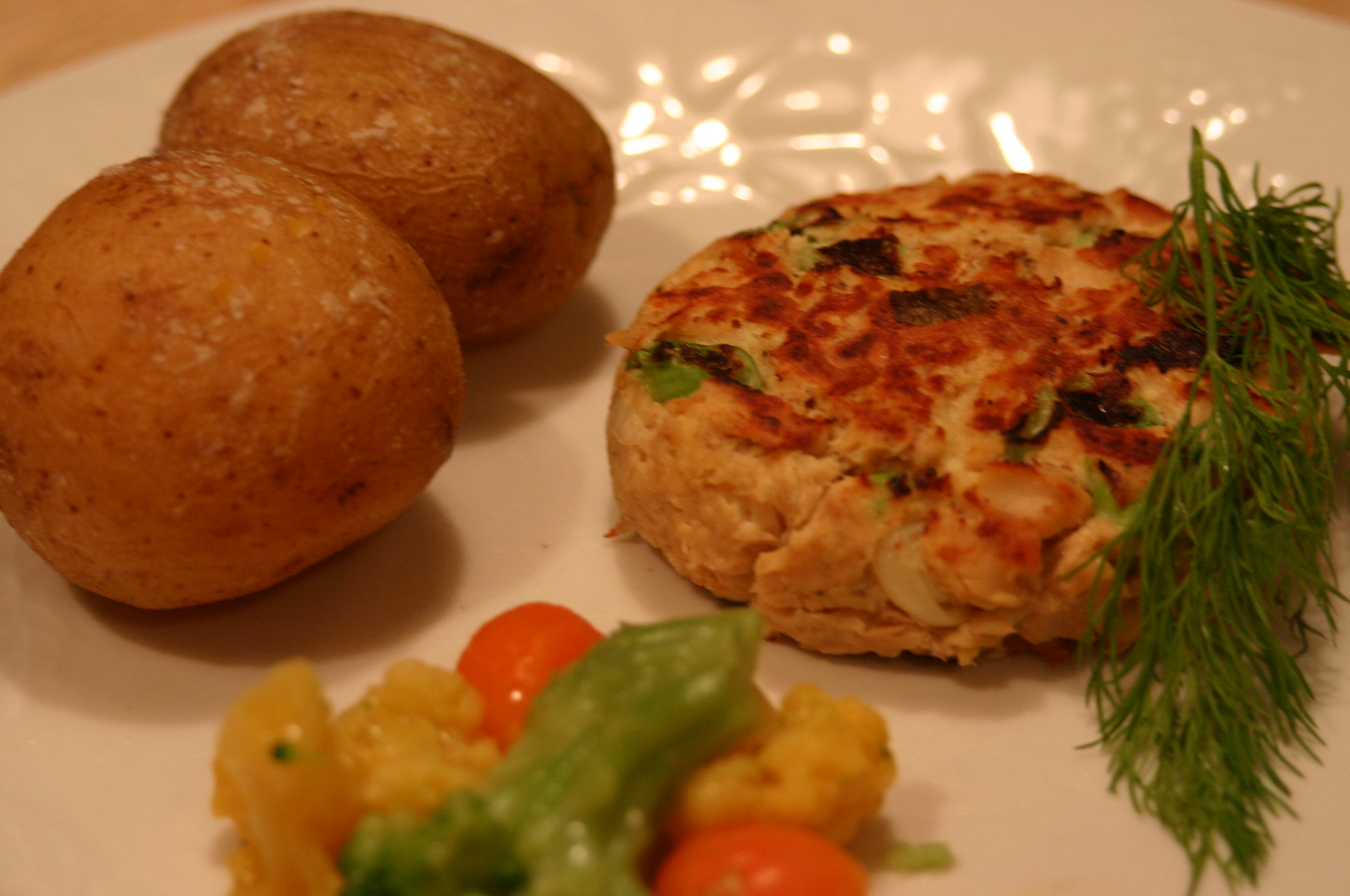 These salmon patties are fantastic served with dill tartar sauce.